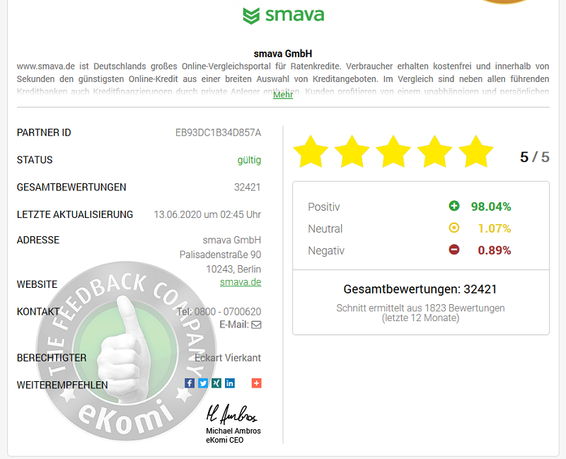 Screenshot: smava bei eKomi